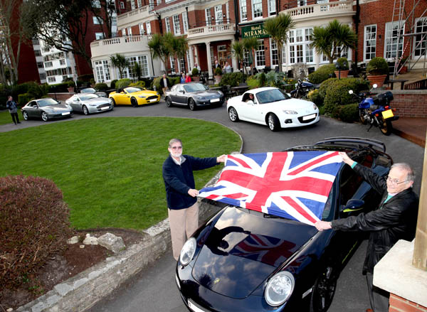 Flagged away from Bournemouth on our sports car road run to Monte Carlo.....
